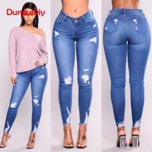 Mode Denim Vecirctements Femmes Jeans Skinny Long Crayon Pantalon Mince HighWaist Casual Eacutelastique Denim Pantalon Trou Bleu Jeans Femme ali-30942358